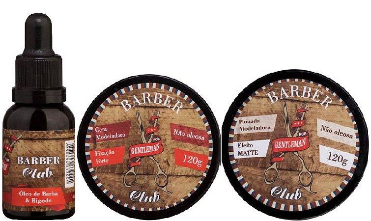 Lattans - Barber Club Óleo de Barba e Bigode 30ml + Pomada Modeladora Efeito Matte 120g + Cera Modeladora Extra Forte 120g