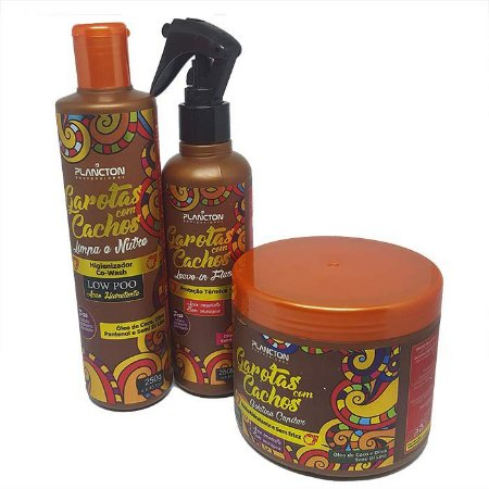 Plancton - Garotas com Cachos Kit Higienizador Co Wash, Leave-in Flash e Gelatinar Capilar