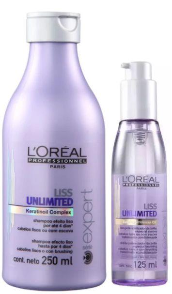 L'Oréal - Liss Unlimited Shampoo 250ml + Óleo Potencializador de Brilho 125ml