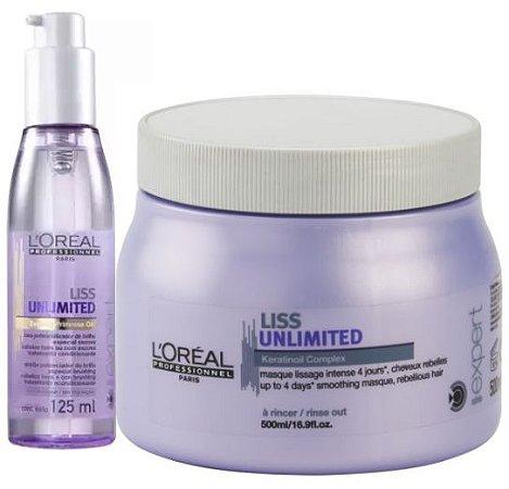 L'Oréal - Liss Unlimited Máscara Tratamento Intensivo 500g + Óleo Potencializado de Brilho 125ml