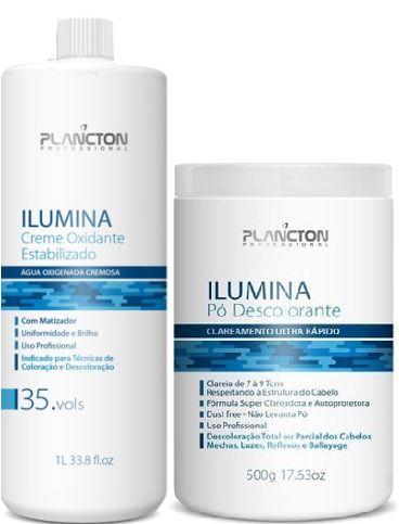 Plancton - Ilumina Kit Descoloração Água Oxigenada 35 Volumes 1L + Pó Descolorante 500g