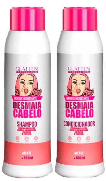 Glatten Professional - Mousse Hidratante Desmaia Cabelo Shampoo e Condicionador 500ml cada