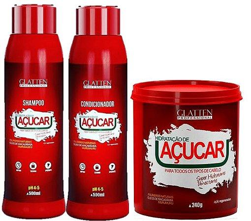 Glatten Professional - Açúcar Shampoo 500ml + Condicionador 500ml + Máscara 240g