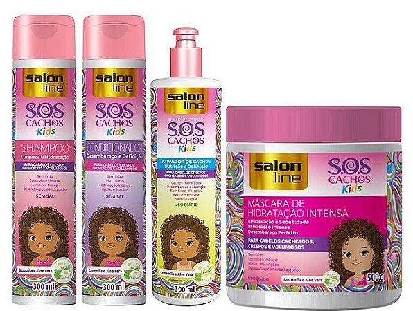 Salon Line - SOS Cachos Kids Shampoo 300ml + Condicionador 300ml + Creme de Pentear 300g + Máscara 500g