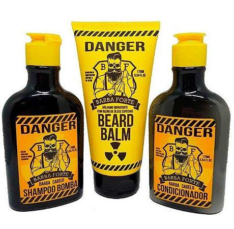 Barba Forte - Danger Kit Shampoo Bomba,Condicionador e Bálsamo Hidratante Beard Balm 3x170g