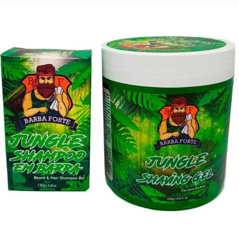 Barba Forte - Jungle Shampoo em Barra 130g + Gel para Barbear 500g