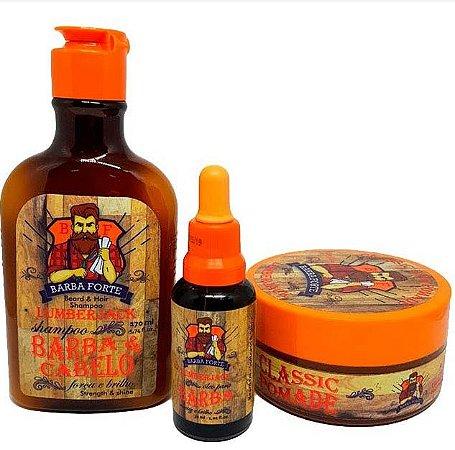 Barba Forte - Lumberjack Shampoo Barba e Cabelo 170ml + Óleo para barba 30ml + Classic Hair Pomade 120g