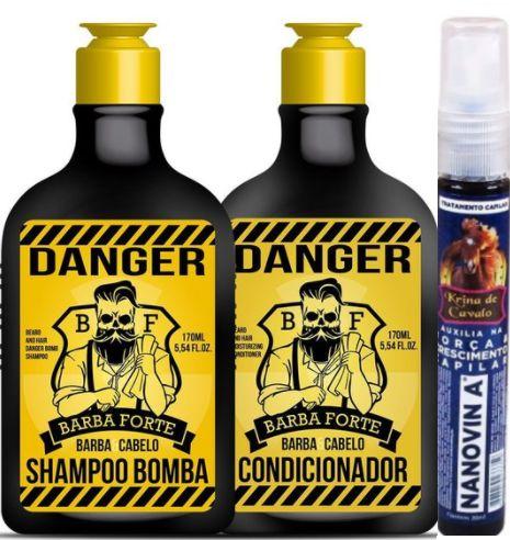 Barba Forte - Danger Kit Shampoo Bomba + Condicionador 170ml cada + Krina de Cavalo Nanovin A 30ml