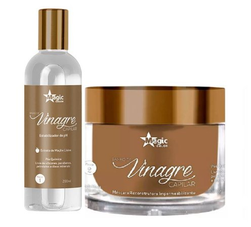 Magic Color - Banho de Vinagre Kit Capilar Estabilizador de Ph 200ml + Máscara Impermeabilizante 300g