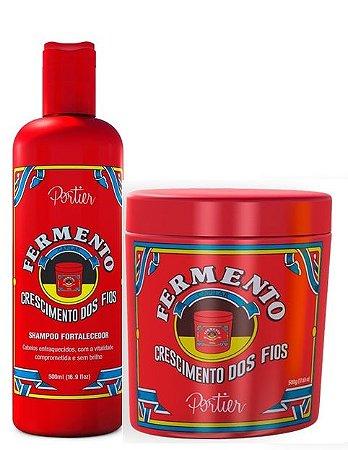 Portier - Fermento Crescimento dos Fios Kit Shampoo + Máscara 2x500g Linha Gourmet