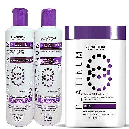 Plancton - New BTX Platinum Kit Shampoo + Condicionador 2x250ml + Btx Alisante 1kg
