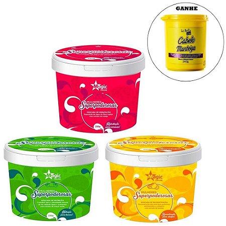 Magic Color - Mulheres Superpoderosas Kit Máscaras Hidratação + Nutrição + Reconstrução Para Arrasar 3X230g E GANHE 1 Máscara Cabelo Manteiga 240g.