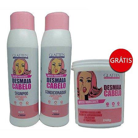 Glatten Professional - Mousse Hidratante Desmaia Cabelo Shampoo + Condicionador 2x500 GRÁTIS Máscara 240g