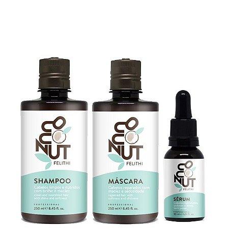 Felithi - Kit Coconut Shampoo 250ml, Máscara 250ml e Sérum 30ml