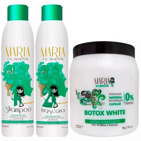 Maria Escandalosa - Kit Sem Formol Escova Progressiva 2x1lt + Botox White 1kg