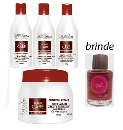 Forever Liss - Home Care Kit Manutenção Pós Progressiva 4 itens (Shampoo + Cond + Leavein + Máscara) + Brinde Óleo 7ml