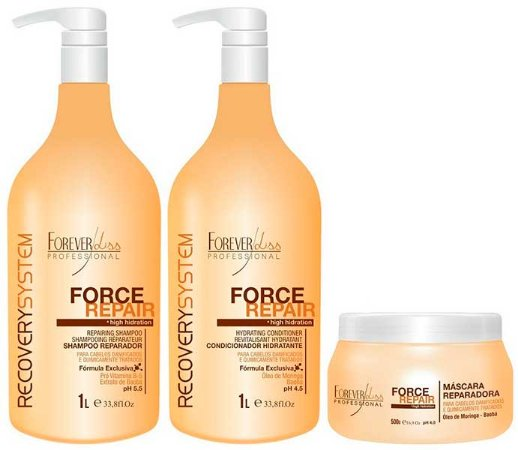 Forever Liss - Force Repair Kit Shampoo 1L, Condicionador 1L, Máscara Profissional Reconstrução Capilar 500g