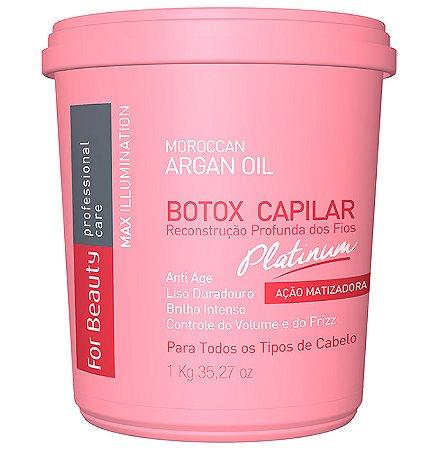 For Beauty - Max Illumination Redutor de Volume Platinum Argan Oil Reconstrução Profunda 1kg (Creme Alisante)