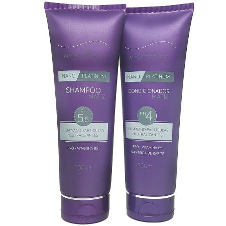 Magnific Hair - Nano Platinum Kit Shampoo e Condicionador Matiz 250ml cada EMBALAGEM NOVA