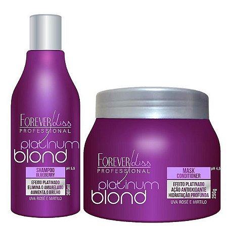 Forever Liss - Platinum Blond Kit Manutenção Matizador de Loiros (Shampoo + Máscara Blueberry)