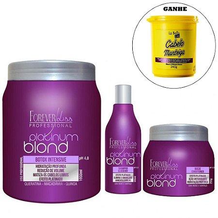Forever Liss - Platinum Blond Kit Loira Poderosa (Redutor de Volume 1kg + Shampoo e Máscara Blueberry). E GANHE 1 Máscara Cabelo Manteiga 240g.