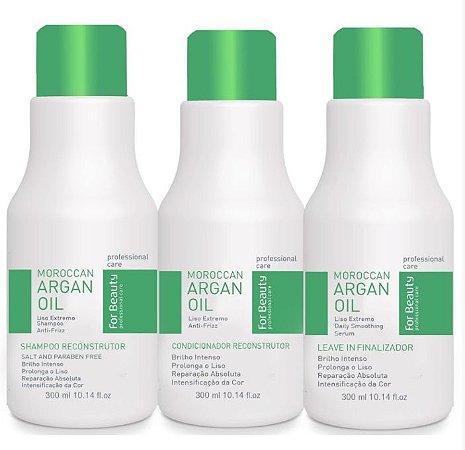 For Beauty - Max Illumination Kit Argan Oil Shampoo, Condicionador e Leave-in 3x300ml