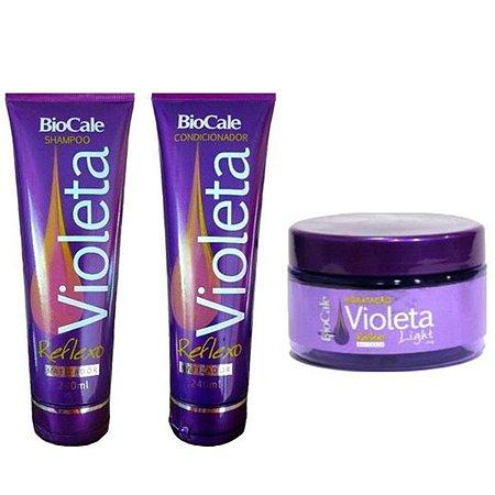 Biocale - Kit Violeta Reflexo Matizador Shampoo + Condicionador + Máscara