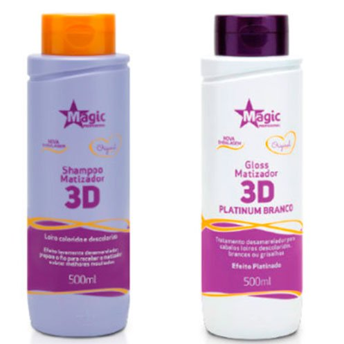 Magic Color - Kit 3D Shampoo 500ml + Matizador 3D Platinum Branco 500ml