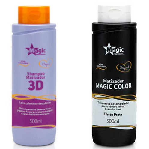 Magic Color - Kit 3D Shampoo 500ml + Matizador 3D Tradicional Efeito Prata 500ml