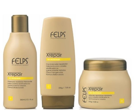 Felps - Xrepair Kit Home Care Shampoo, Condicionador e Máscara Bio Molecular Pequenos