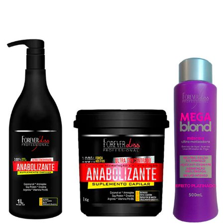Forever Liss - Kit Reconstrução para Cabelo Loiro / Shampoo 1L + Máscara Fortificante 950g e Mega Blond Matizador