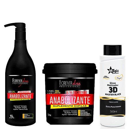 Forever Liss e Magic Color - Kit Reconstrução para Cabelo Preto / Shampoo e Máscara Fortificante e Master Black