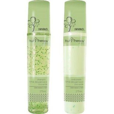 Left - Fruit Therapy Nano Lima da Pérsia Kit (Shampoo + Condicionador) Cabelos Oleosos 2x275 ml