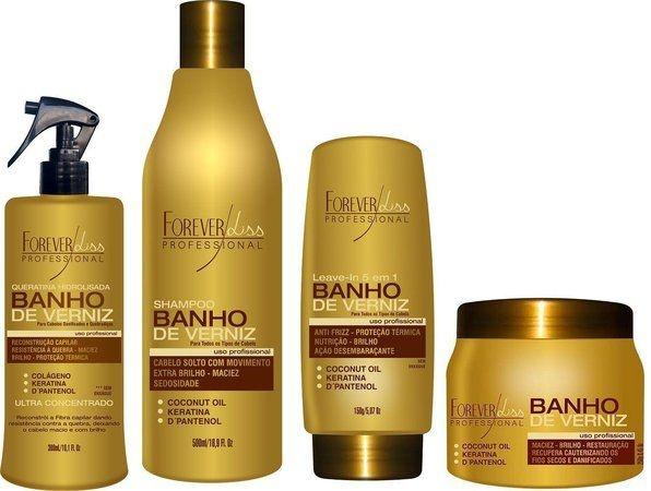 Forever Liss - Banho de Verniz Kit Reconstrução de Brilho (Shampoo 500ml + Queratina 300ml + Leave in 150ml + Banho de Verniz 250g)