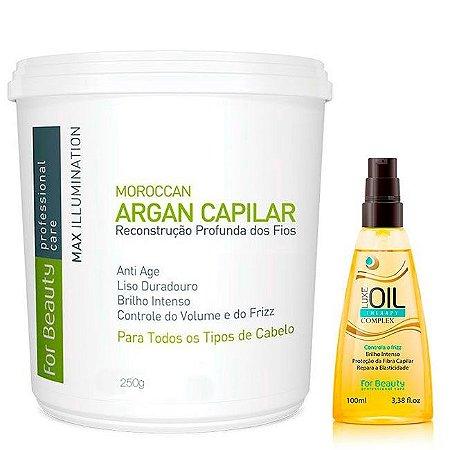 For Beauty - Kit Max Illumination Redutor de Volume Argan Oil 250g e Luxe Oil Therapy Complex Controle do Frizz 100ml