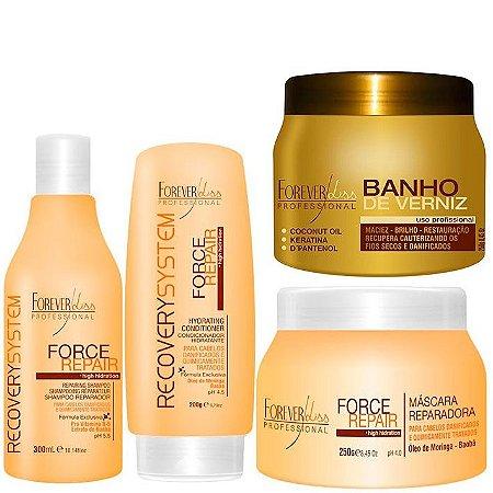 Forever Liss - Kit Banho de Verniz 250g + Force Repair (Shampoo 300ml, Condicionador 200g e Máscara 250g) Home Care