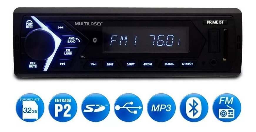 SOM AUTOMOTIVO MULTILASER PRIME BT - P3337