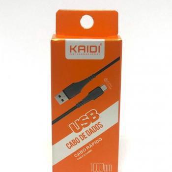CABO MICRO USB V8 KAIDI KD-176C 1 METRO PRETO