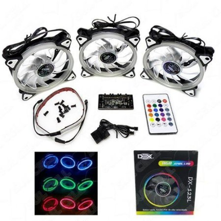 KIT COM 3 COOLER RGB 120MM MAIS CONTROLE DEX DX123L
