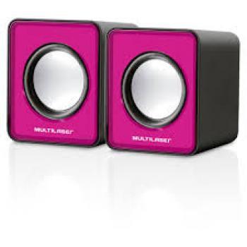 Caixa de Som Mini Multilaser 2.0 3W Rms Rosa - SP198