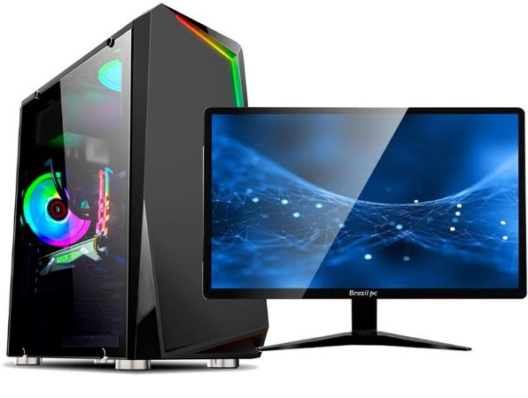 DESKTOP SULAMERICA GAMER CORE I3 4GB SSD120 VGA R5 220 2GB C/ MONITOR 19
