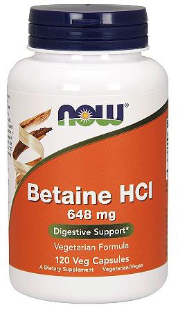 Betaína HCL 648 Mg com 150 mg De Pepsina - Now Foods - 120 Cápsulas