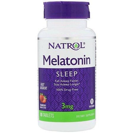 Comprar Melatonina 3 mg Fast Dissolve sublingual sabor morango - Natrol - 90 Comprimidos