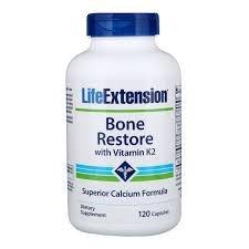 Bone Restore com Vitaminas K 2 - Life Extension - 120 Capsulas (Saúde doa Ossos)