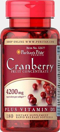 Cranberry 4200 mg com Vitamina D3-  Puritans Pride - Liberação Rápida - 180 softgels