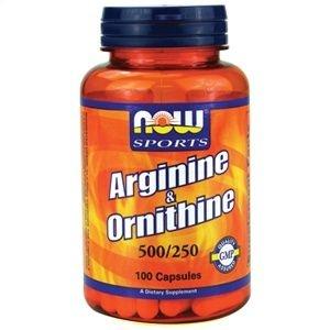 L-Arginina 500 mg e 250 mg Ornitina Now Foods  100 Capsulas