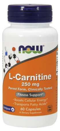 L-Carnitine Tartrate Carnipure  250 mg - 60 cápsulas - Now Foods.