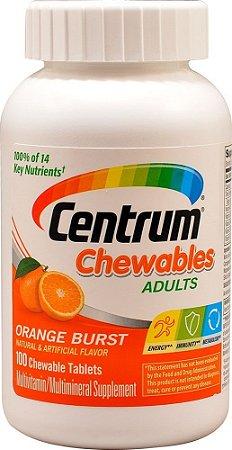 Multivitamínico Centrum Adultos mastigável sabor laranja - 100 tablets