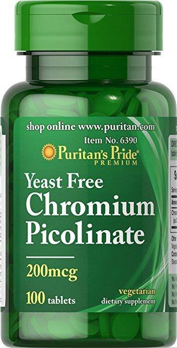 Picolinato de Cromo 200 mcg  -  Puritan's Pride - 100 tabletes