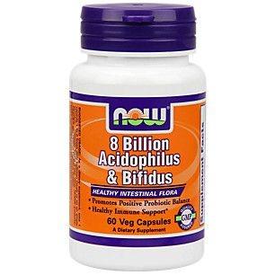 Probiótico Acidophilus & Bifidus 8 Bilhoes - Now Foods - 60 Cápsulas